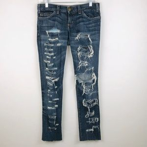 Current Ellliott Skinny New Worn Shredded Jeans